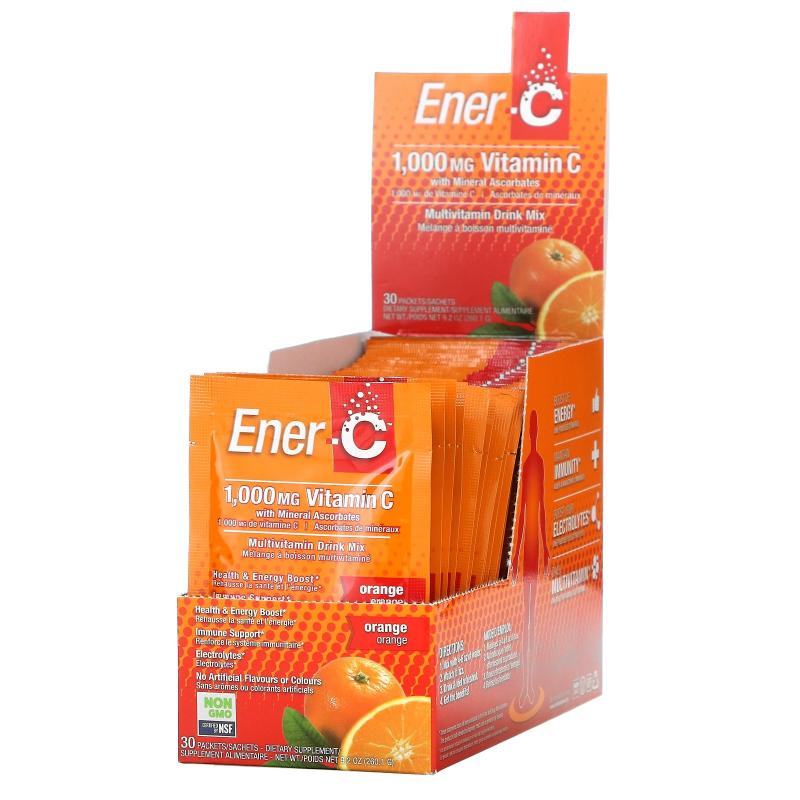 Ener-C, Vitamin C, Effervescent Powdered Drink Mix, Orange, 30 Packets, 9.2 oz (260.1 g)