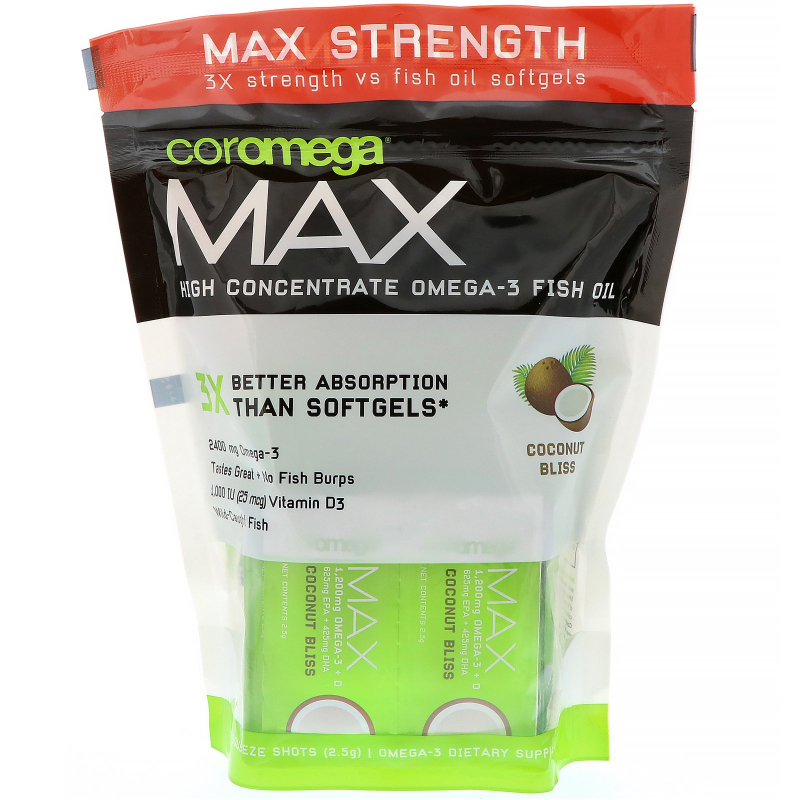 Coromega, Max, High Concentrate Omega-3 Fish Oil, Coconut Bliss, 2,400 mg, 60 Squeeze Shots, 2.5 g Each