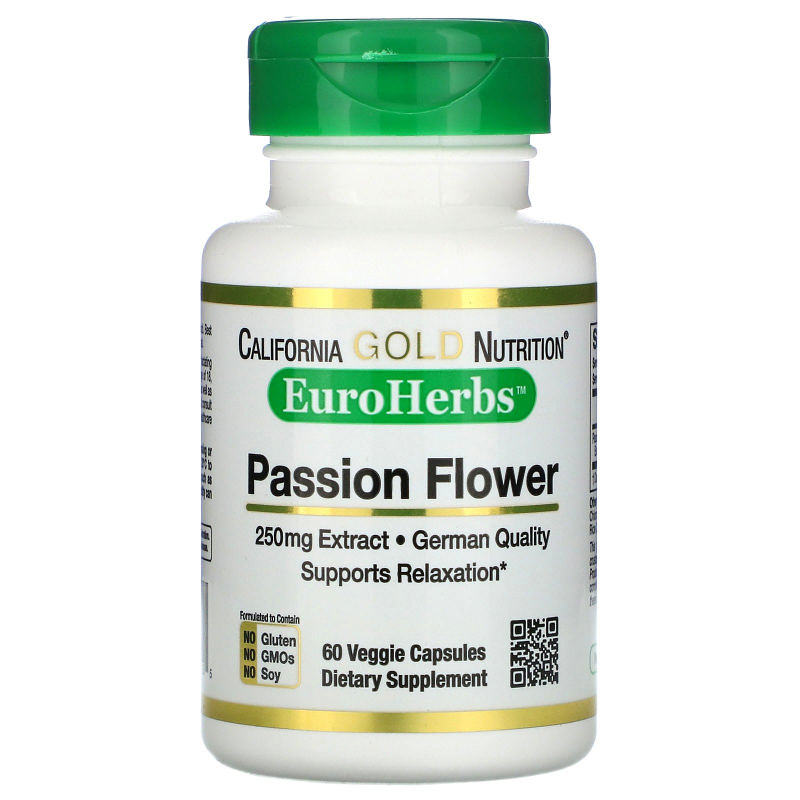 California Gold Nutrition, EuroHerbs, Passion Flower, 250 mg, 60 Veggie Caps