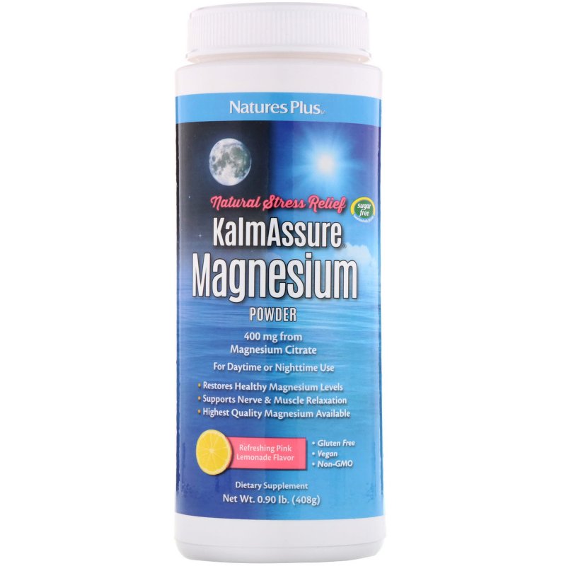 Nature's Plus, Kalmassure Magnesium Powder, Refreshing Pink Lemonade, 400 mg, 0.90 lb. (408 g)