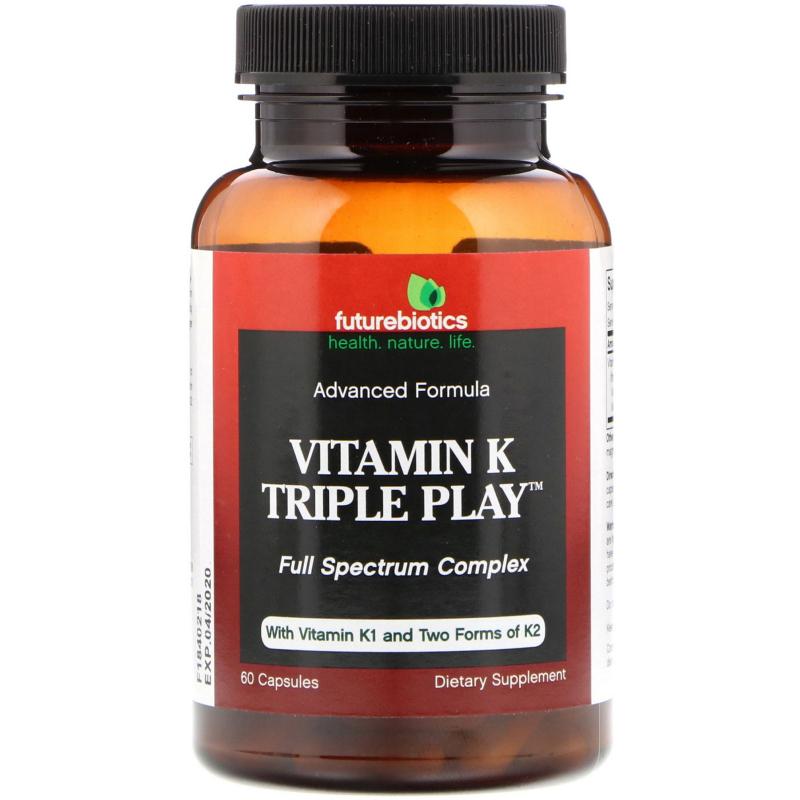FutureBiotics, Vitamin K Triple Play, 60 Capsules