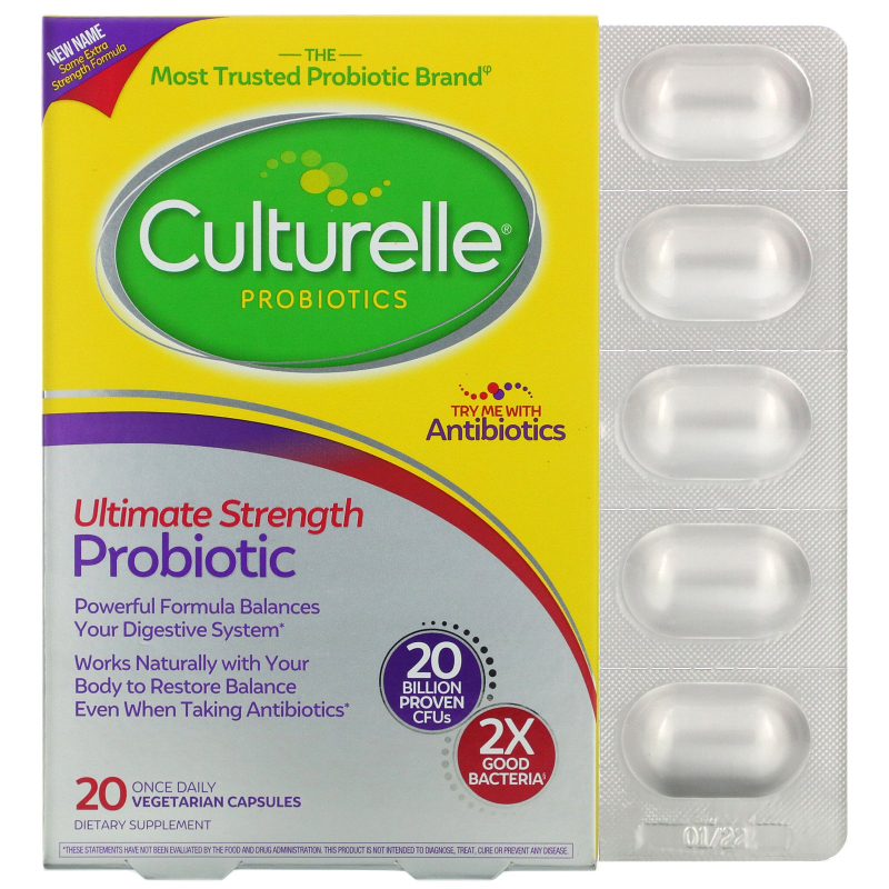 Culturelle, Extra Strength, Digestive Health, Daily Probiotic Formula , 20 Once Daily Veggie Caps