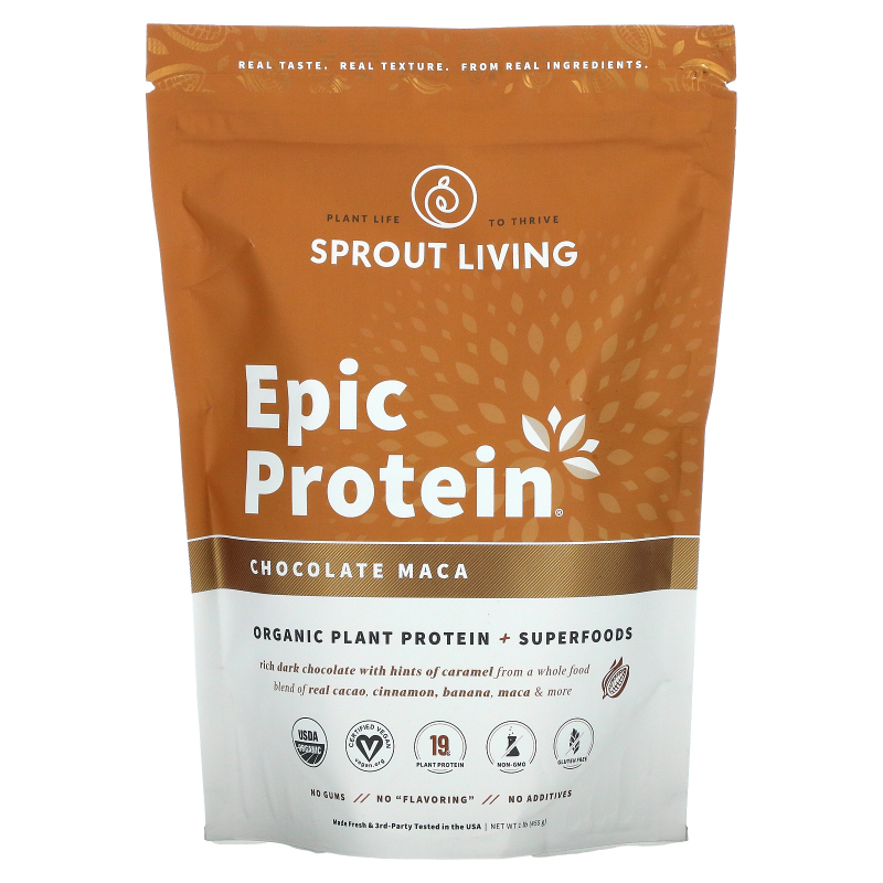 Sprout Living, Epic Protein, Chocolate Maca, 1 lb (455 g)