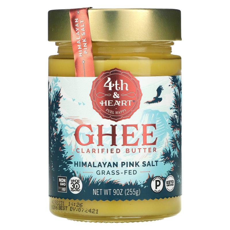 4th & Heart, Ghee Butter, Grass-Fed, Himalayan Pink Salt, 9 oz (225 g)