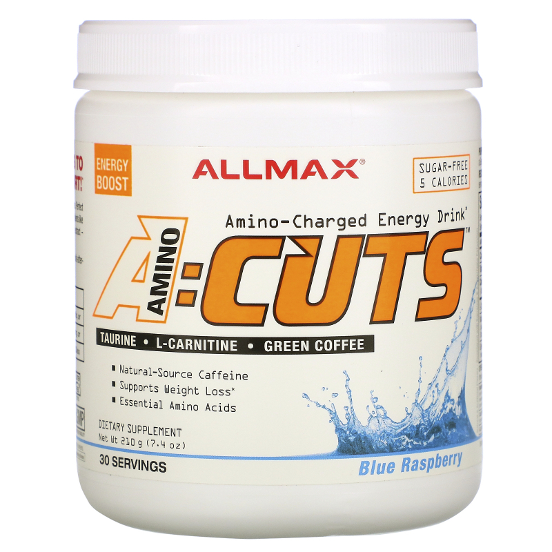 ALLMAX Nutrition, AMINOCUTS (ACUTS), Weight-Loss BCAA (CLA + Taurine + Green Coffee), Blue Raspberry, 7.4 oz (210 g)