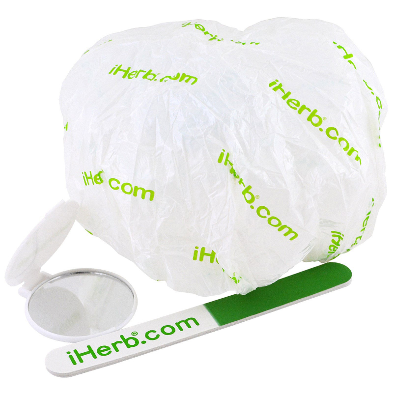 iHerb Goods, Promotional  Shower Cap, Mirror & Nail File Pieces