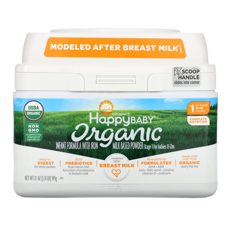 Happy Family Organics, Organics Happy Baby, Infant Formula With Iron, Stage 1, Birth to 12 Months, 21 oz (595 g)