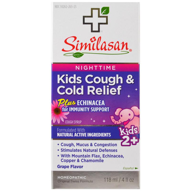 Similasan, Kids Cough & Cold Relief, Nighttime, Grape, 4 fl oz (118 ml)