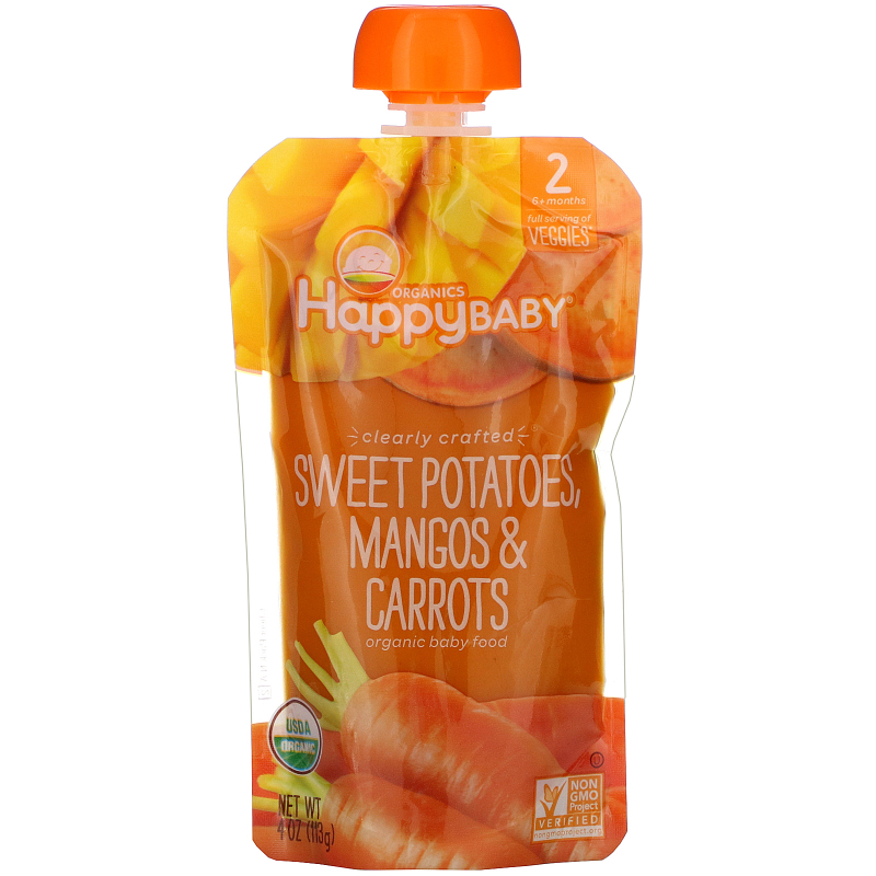 Happy Family Organics, Organic Baby Food, Stage 2, Clearly Crafted, Sweet Potatoes, Mangos & Carrots,  6+ Months, 4 oz (113 g)