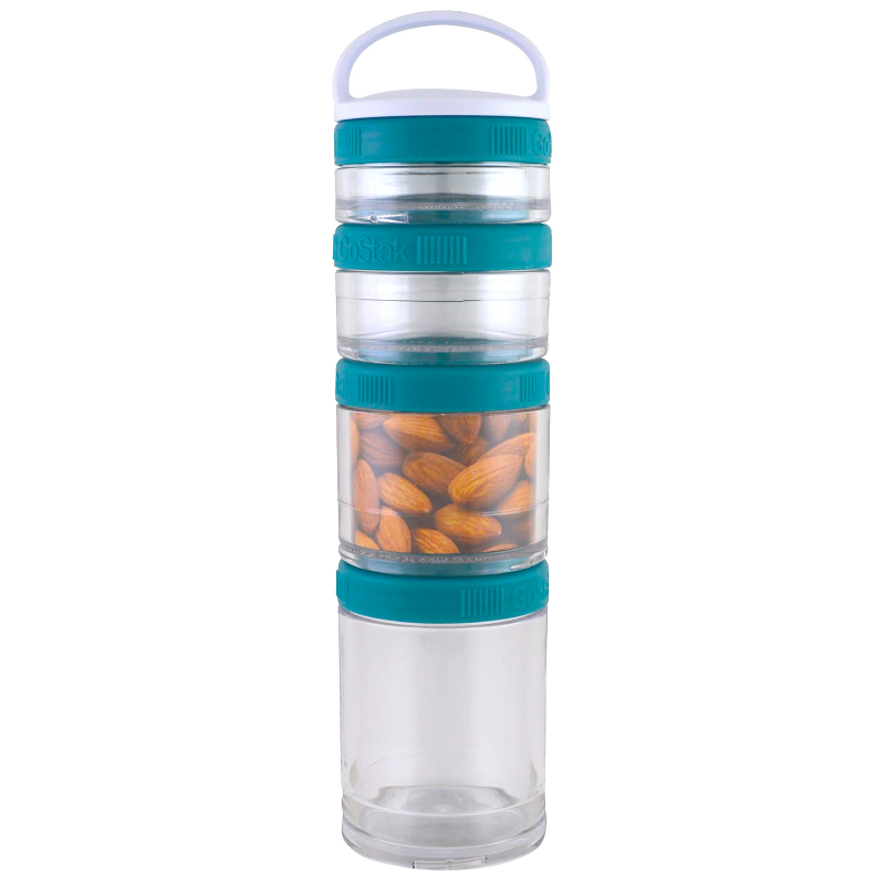 GoStak, Portable Stackable Containers, Teal, Starter 4 Pack