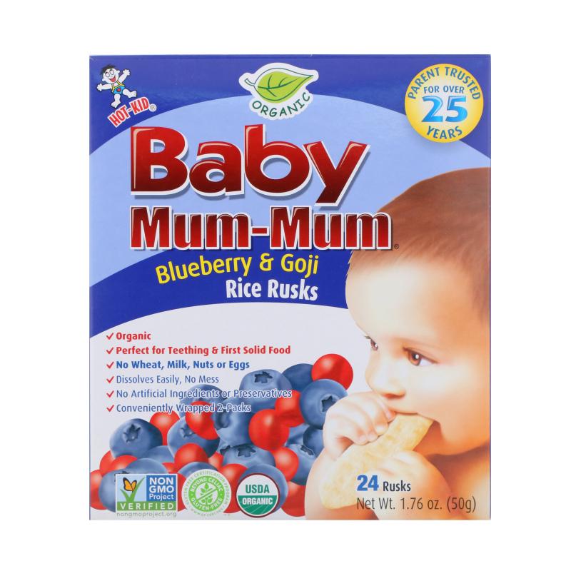 Hot Kid, Baby Mum-Mum, Organic Rice Rusk, Blueberry & Goji Rice Rusks, 24 Rusks, 17.6 oz  (50 g) Each