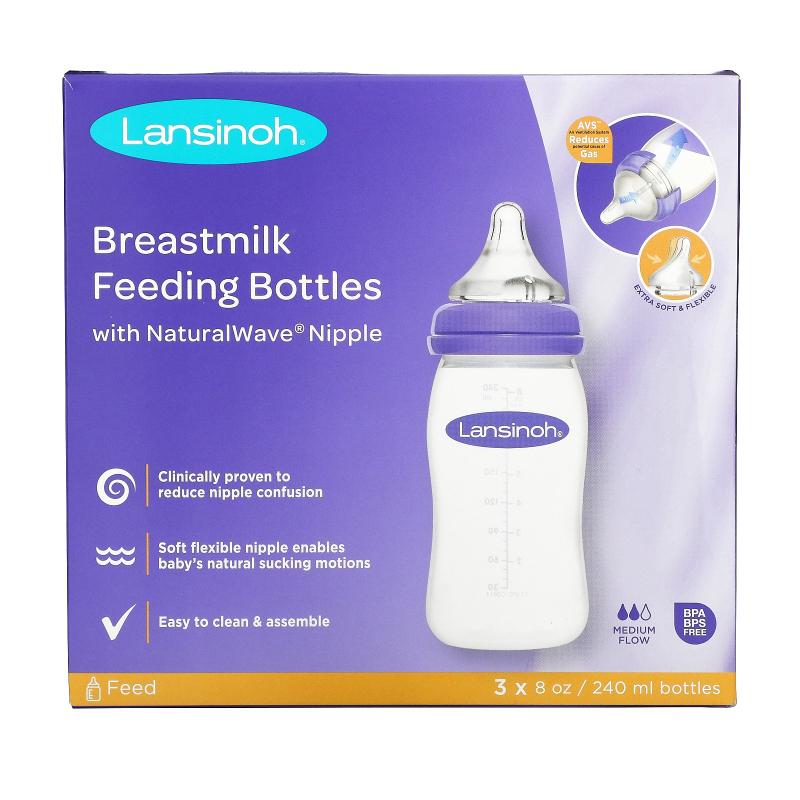 Lansinoh, Natural Wave Nipple Bottles, Medium Flow, 3 Bottles, 8 oz (240 ml) Each