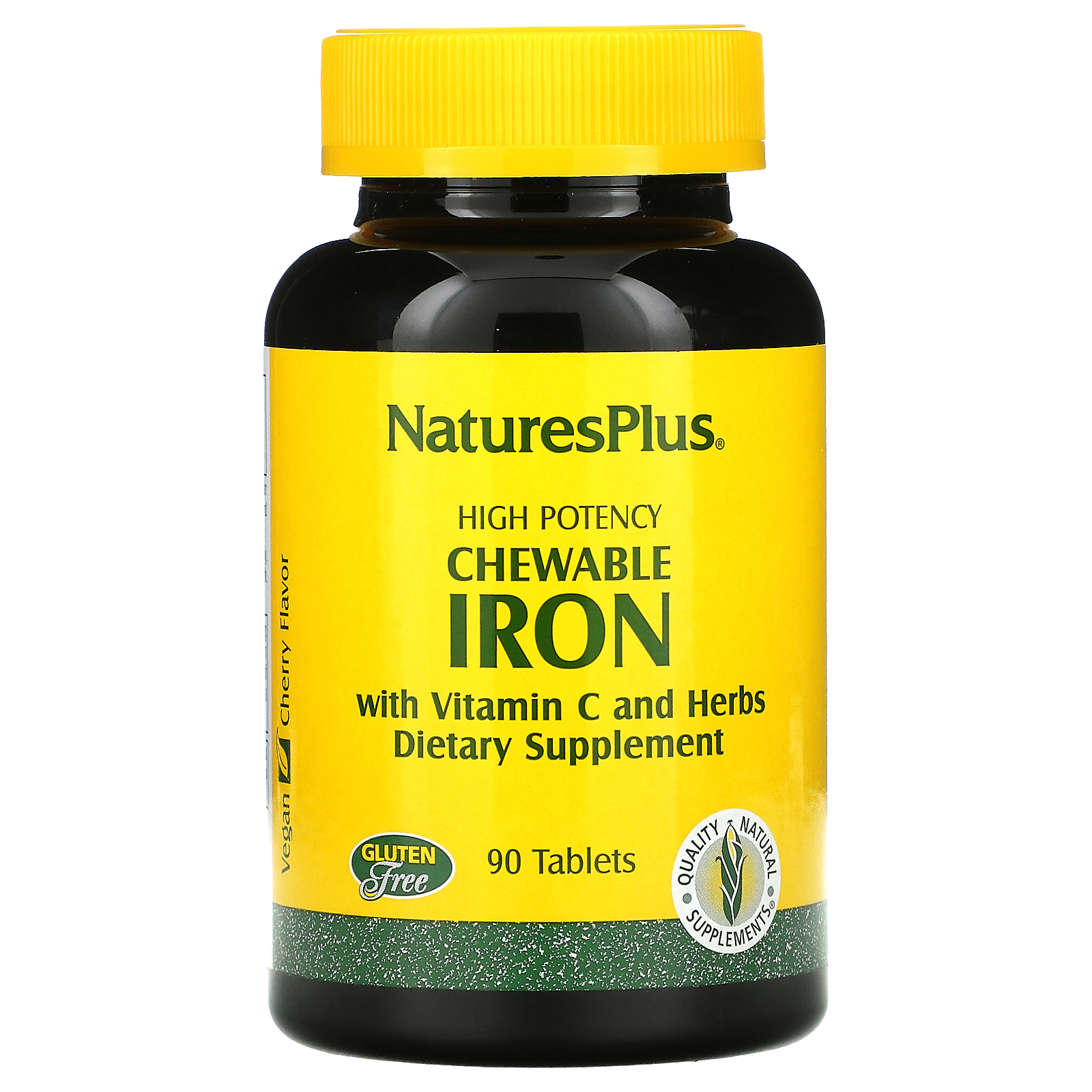 Nature's Plus, Chewable Iron, Cherry Flavor, 90 Tablets