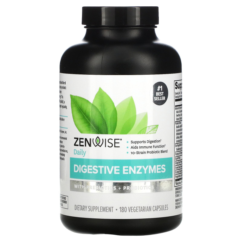 Zenwise Health, Daily Digestive Enzymes with Prebiotics + Probiotics, 180 Vegetarian Capsules