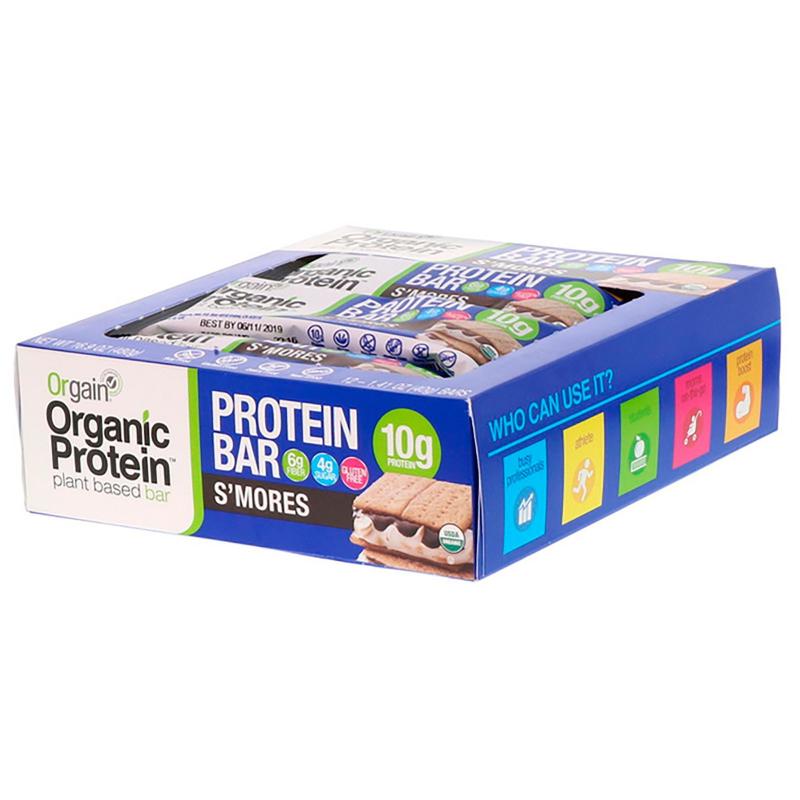 Orgain, Organic Plant-Based Protein Bar, S'mores, 12 Bars, 1.41 oz (40 g) Each