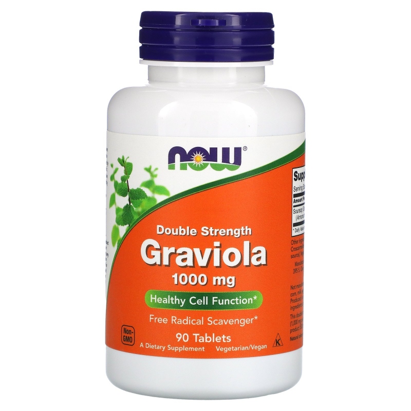 Now Foods, Graviola, Double Strength, 1000 mg , 90 Tablets