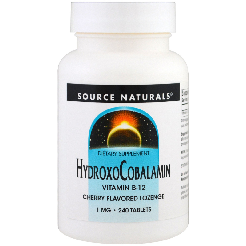 Source Naturals, HydroxoCobalamin, Vitamin B-12, Cherry Flavored Lozenge, 1 mg , 240 Tablets