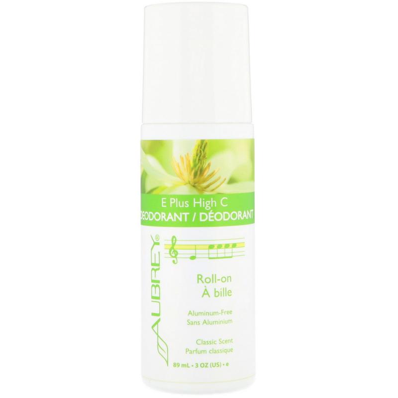 Aubrey Organics, E Plus High C, Natural Roll-On Deodorant, Classic Scent, 3 fl oz (89 ml)