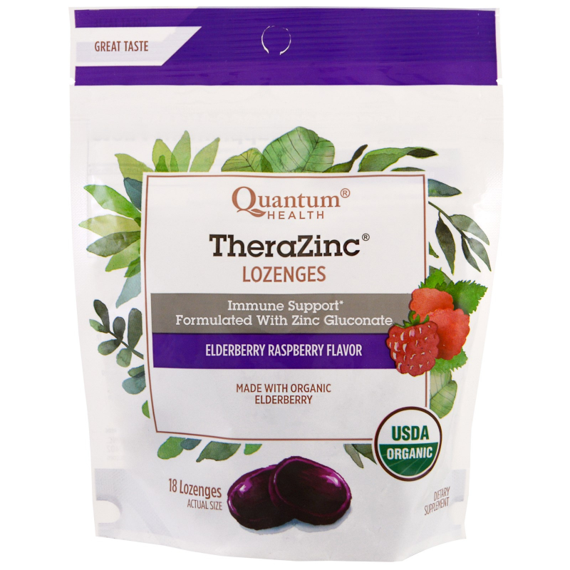 Quantum Health, TheraZinc, Lozenges, Elderberry Raspberry Flavor , 18 Lozenges