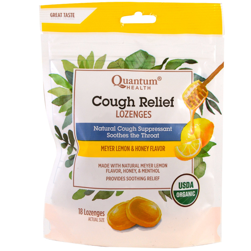 Quantum Health, Cough Relief, Lozenges, Meyer Lemon & Honey Flavor , 18 Lozenges