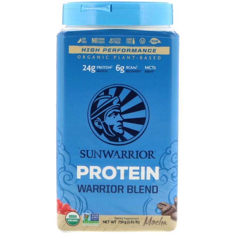 Sunwarrior, Warrior Blend Protein, Organic Plant-Based, Mocha, 1.65 lb (750 g)