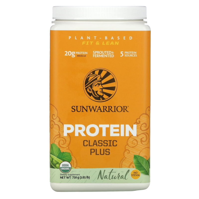 Sunwarrior, Classic Plus Protein, Organic Plant Based, Natural, 1.65 lb (750 g)