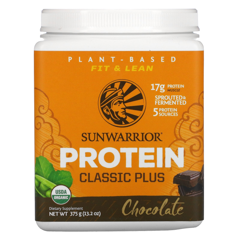Sunwarrior, Classic Plus Protein, Organic Plant Based, Chocolate, 13.2 oz (375 g)