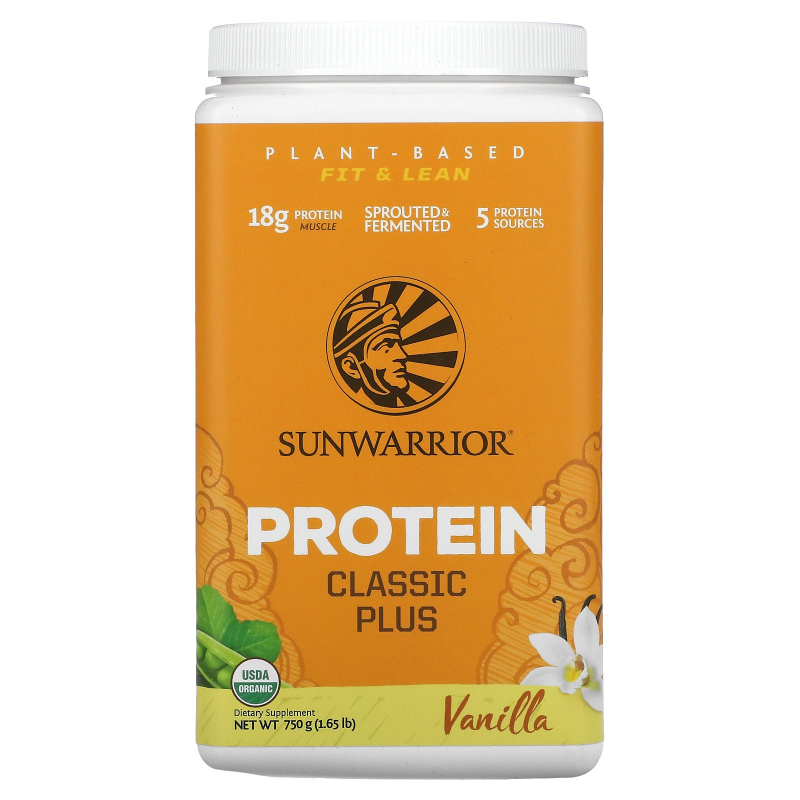 Sunwarrior, Classic Plus Protein, Organic Plant Based, Vanilla, 1.65 lb (750 g)