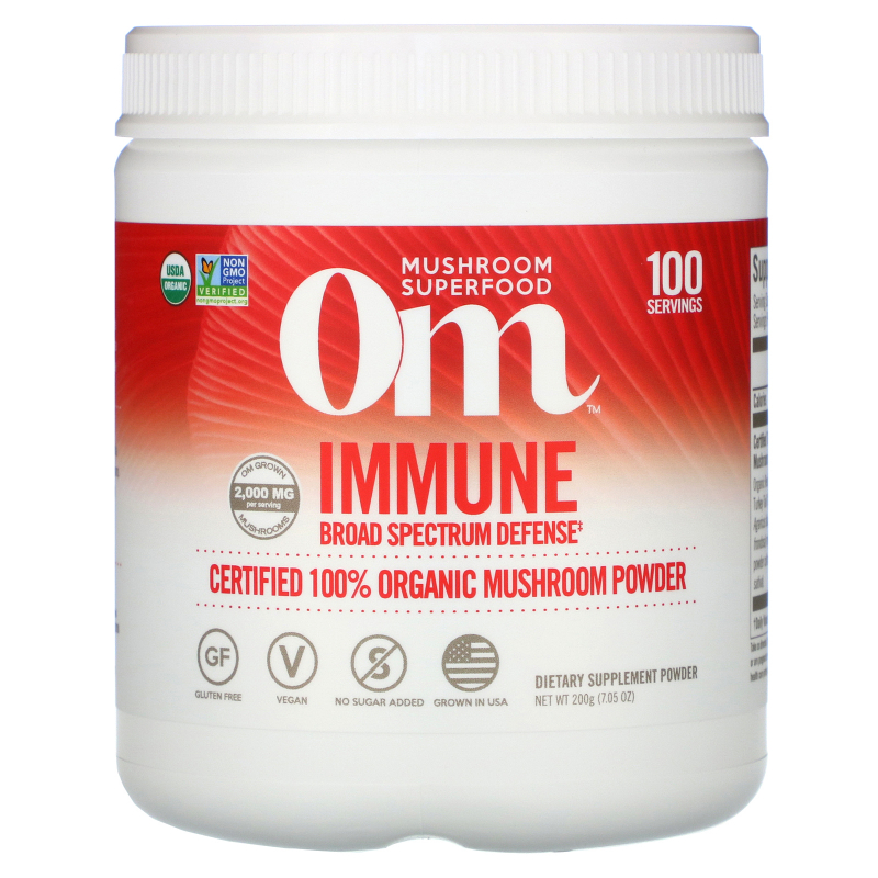 OM Organic Mushroom Nutrition, Immune, Mushroom Powder, 7.14 oz (200 g)