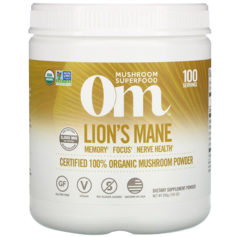 OM Organic Mushroom Nutrition, Lion's Mane, Mushroom Powder, 7.14 oz (200 g)
