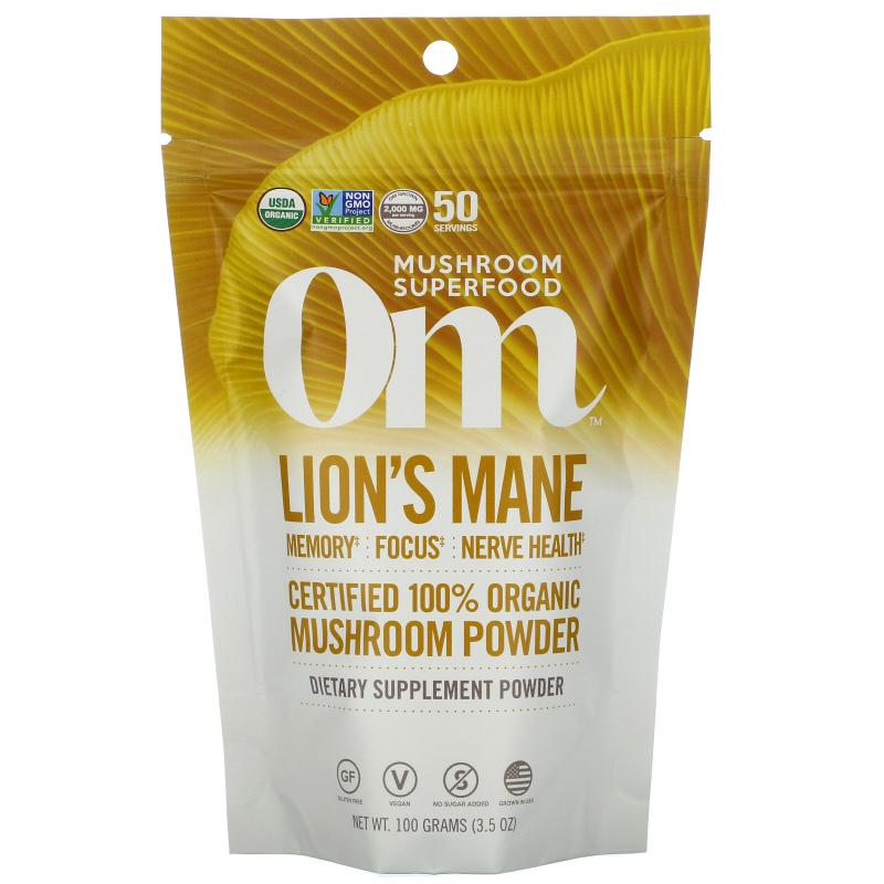 OM Organic Mushroom Nutrition, Lion's Mane, Mushroom Powder , 3.57 oz (100 g)