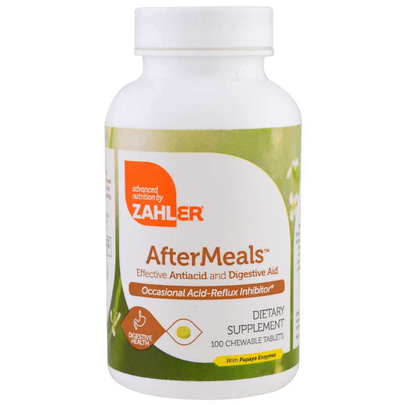 Zahler, AfterMeals, Effective Antiacid and Digestive Aid, 100 Chewable Tablets