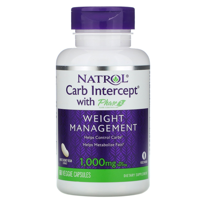 Natrol, Carb Intercept with Phase 2 Carb Controller, 1000 mg, 60 Veggie Caps