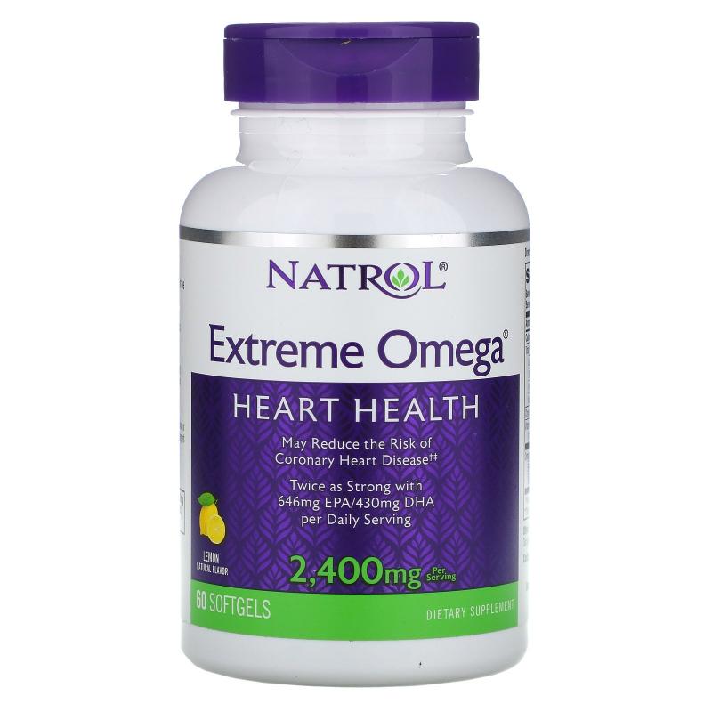 Natrol, Extreme Omega, Lemon, 2,400 mg, 60 Softgels