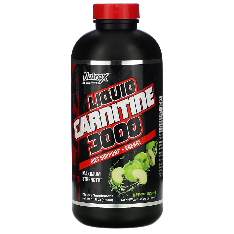 Nutrex Research, Liquid Carnitine 3000, Green Apple, 16 fl oz (473 ml)