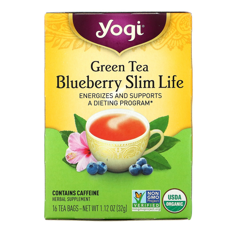 Yogi Tea, Organic, Green Tea Blueberry Slim Life, 16 Tea Bags, 1.12 oz (32 g)