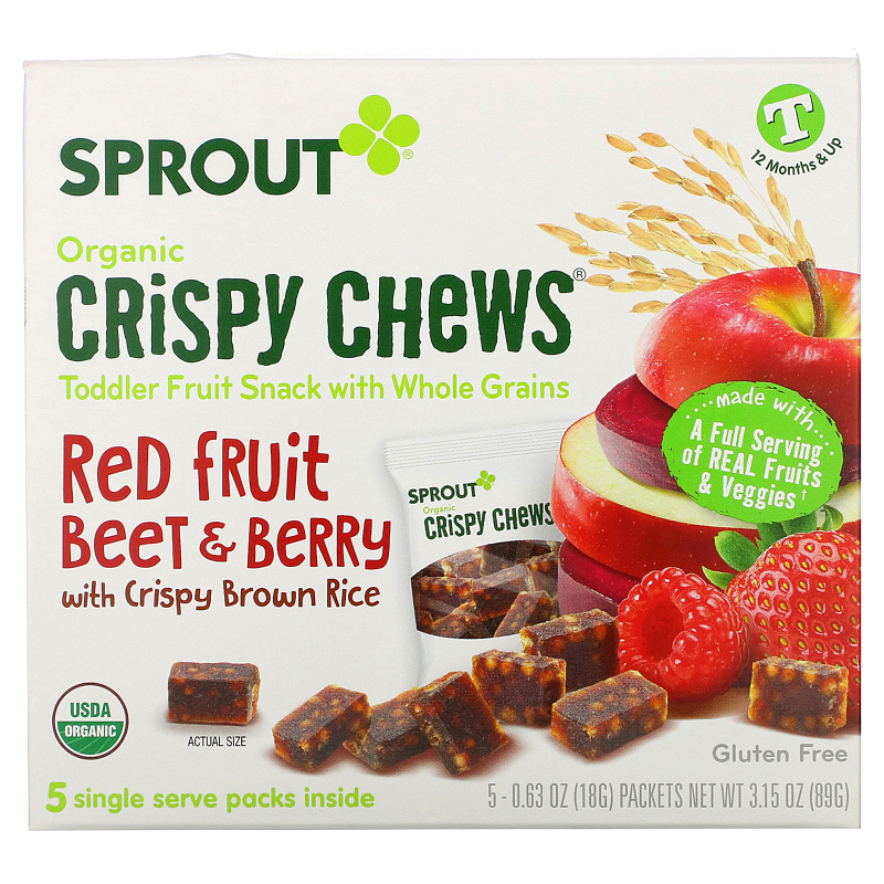 Sprout Organic, Crispy Chews, Red Berry & Beet, 5 Packets, 0.63 oz (18 g) Each
