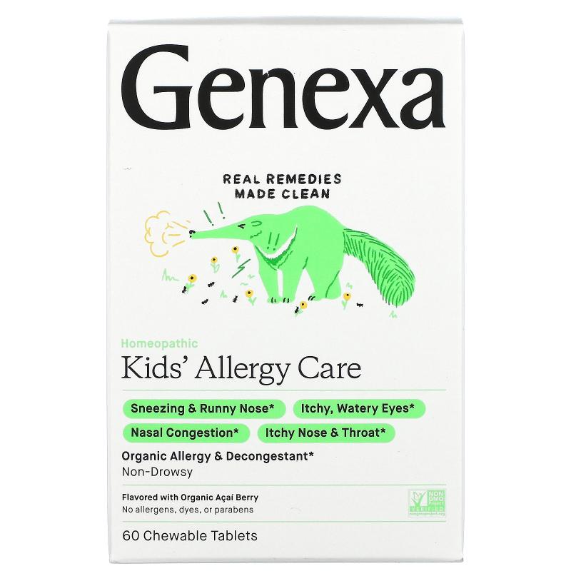 Genexa, Allergy-D for Children, Organic Allergy & Decongestant, Organic Acai Berry Flavor, 60 Chewable Tablets