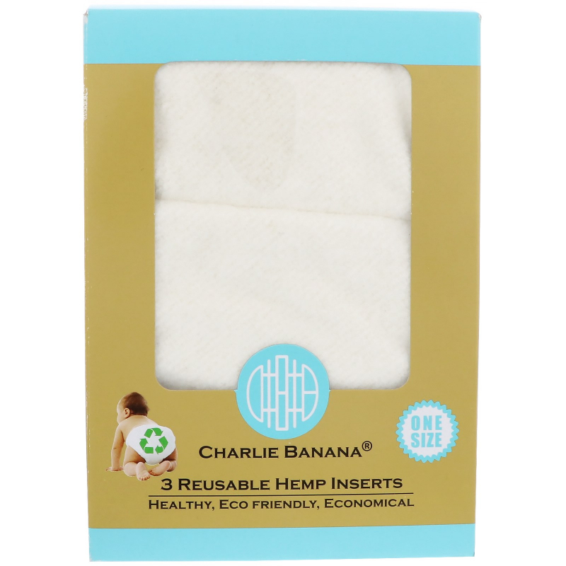 Charlie Banana, Reusable Hemp Inserts, One Size, 3 Inserts