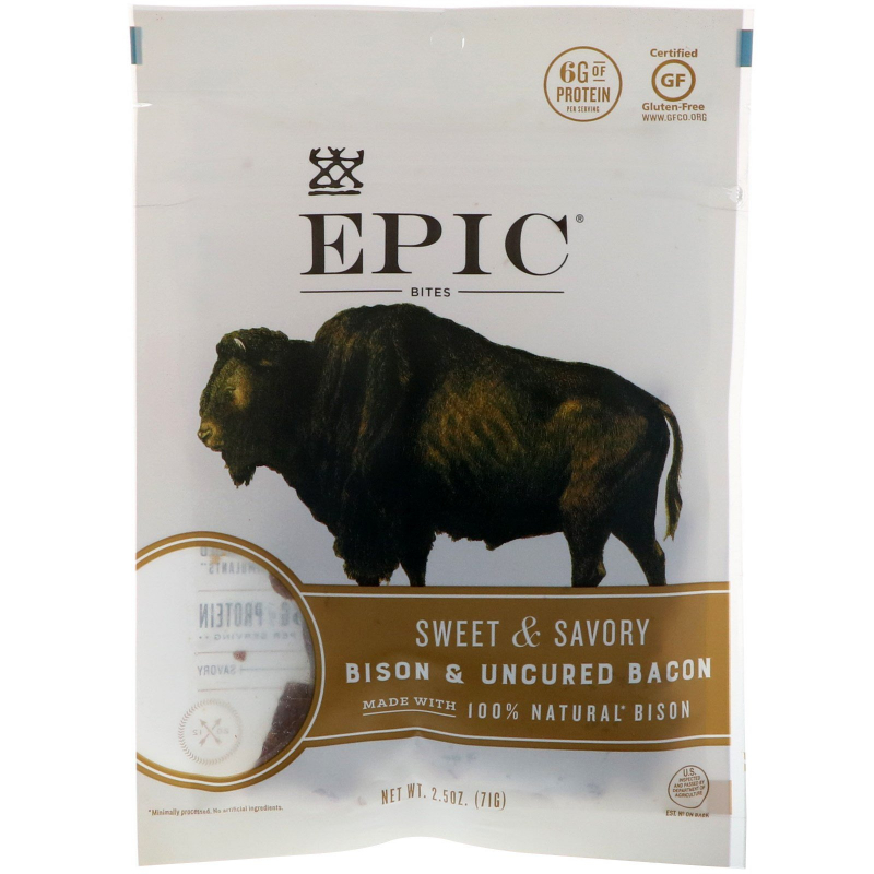 Epic Bar, Bites, Bison & Uncured Bacon, Sweet & Savory, 2.5 oz (71 g)