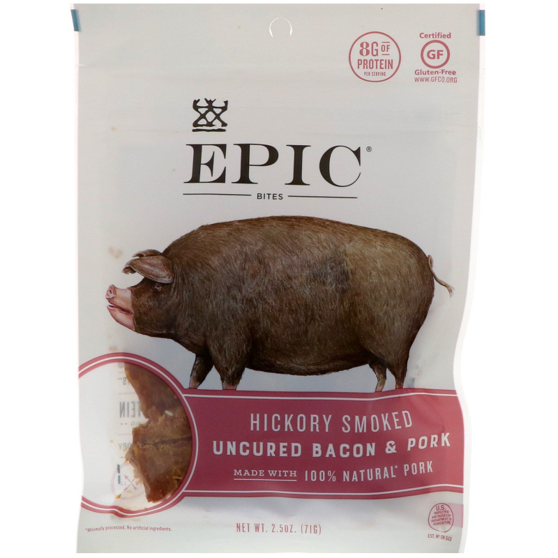 Epic Bar, Bites, Uncured Bacon & Pork, Hickory Smoked, 2.5 oz (71 g)