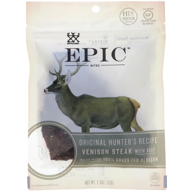 Epic Bar, Bites, Tender Venison Steak, Original Hunter's Recipe, 2.5 oz (71 g)