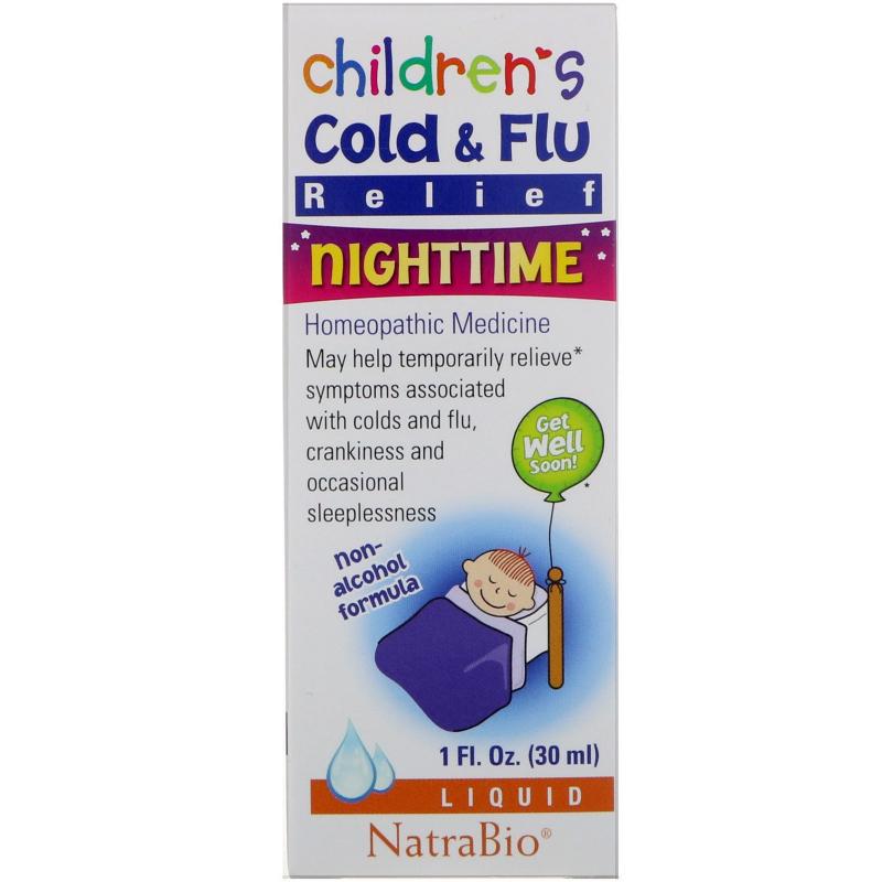 NatraBio, Children's Cold & Flu, Nighttime, 1 fl oz (30 ml)