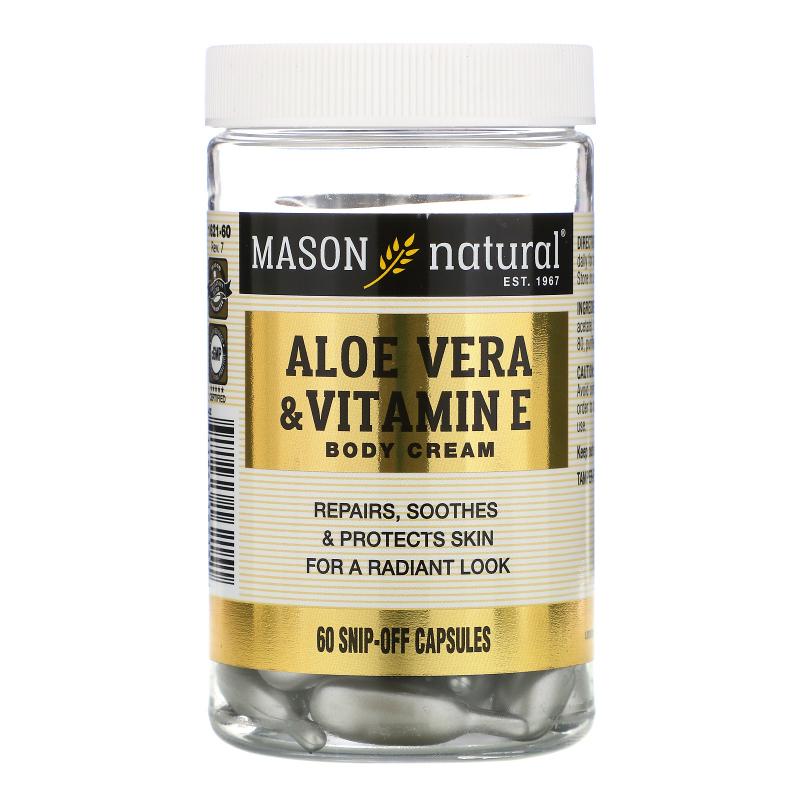 Mason Natural, Aloe Vera & Vitamin E, Body Cream, 60 Snip-Off Capsules
