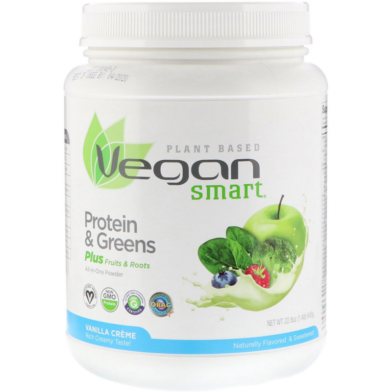 VeganSmart, Protein & Greens, All-In-One Powder, Vanilla Creme, 1.42 lbs (645 g)