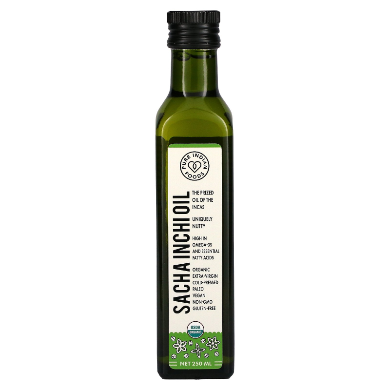 Pure Indian Foods, Organic Sacha Inchi Oil, Cold Pressed, Virgin, 250 ml