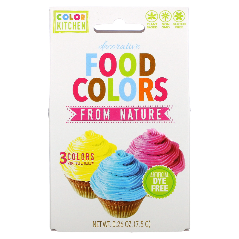 ColorKitchen, Decorative, Food Colors From Nature, 3 Color Packets, 0.24 oz (6.9 g)