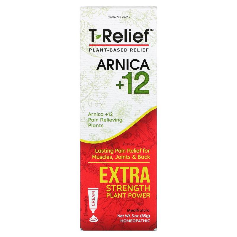 MediNatura, T-Relief, Extra Strength Natural Pain Relief Cream, 3 oz (85 g)