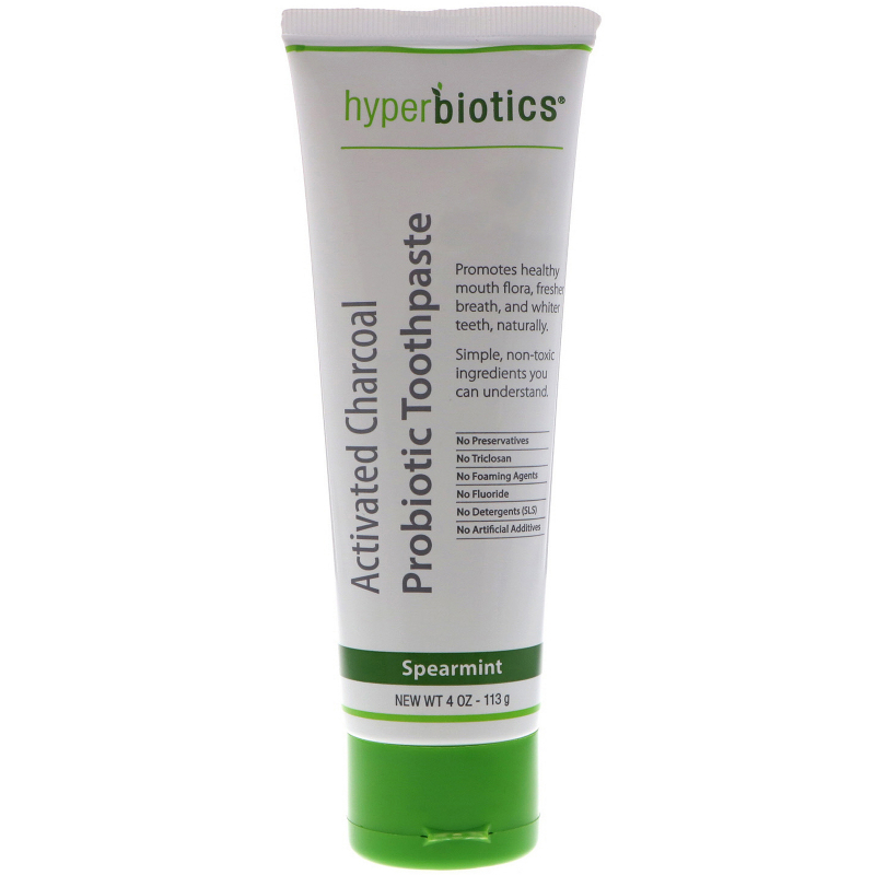 Hyperbiotics, Activated Charcoal Probiotic Toothpaste, Spearmint, 4 oz (113 g)