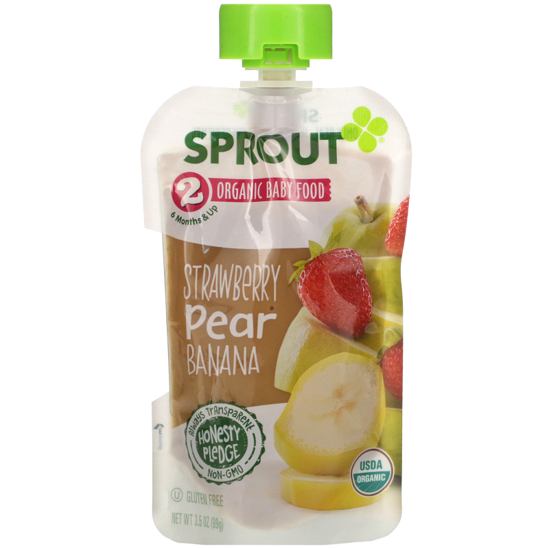 Sprout Organic, Baby Food, Stage 2, Strawberry, Pear, Banana, 3.5 oz (99 g)